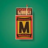 Matchbox i dopasowania, odgórny widok ilustracja wektor