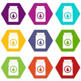 Matchbox icon set color hexahedron Stock Photos