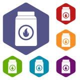 Matchbox icons set hexagon Royalty Free Stock Photo