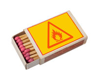 Matchbox isolated with hazard sign. Yellow matchbox with hazard sign isolated on white, clipping path royalty free stock photography