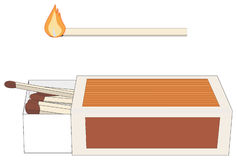 Matchbox and Lighted Stick. Vector illustration of a matchbox, with match sticks, and a lighted stick Stock Photos