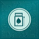 Matchbox and matches icon on a green background, with arrows in different directions. It appears the electronic board. Matchbox and matches icon on a green Royalty Free Stock Photography