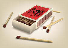 Matchbox and matches Stock Photography