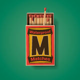 Matchbox and matches, top view Stock Images