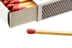 Matchbox with a matchstick outside box isolated on white background. Royalty Free Stock Image