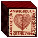 Matchbox red heart woodcut Royalty Free Stock Photo