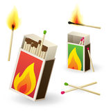 Matchboxes and matches. Vector matchboxes with burning matches Royalty Free Stock Photography
