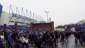 Matchday at Goodison Park stock footage