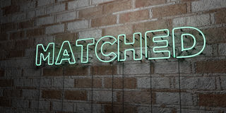 MATCHED - Glowing Neon Sign on stonework wall - 3D rendered royalty free stock illustration Royalty Free Stock Photos