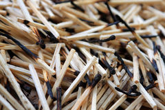 Matches. Pile of burnt matches. Background Stock Photo