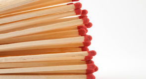 Matches. Close up of red wooden matches Royalty Free Stock Photography