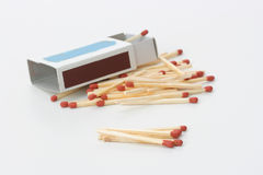 The matches. The match box and matches isolated on white background Royalty Free Stock Photo