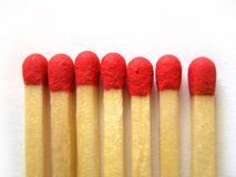 Matches. With red head on white background Stock Photos