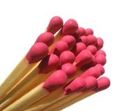 Matches. Isolated matches with red head Royalty Free Stock Photography