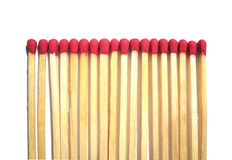 Matches. Isolated matches with red head Royalty Free Stock Image