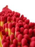 Matches. A queue of red-tipped cooks matches disappearing into the distance Stock Images