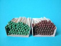 Matches. Two boxes of matches green and brown Royalty Free Stock Photography