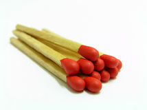Matches. Red wooden matchsticks isolated on white background Stock Images
