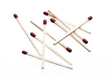 Matches. Isolated red matches in a pile stock photography