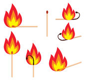 Matches. Different versions of a burning matches, illustration Stock Image