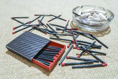 Matches and ashtray Stock Image