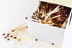 Matches in a big box Royalty Free Stock Photos