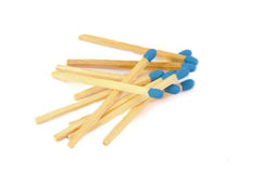 Matches with blue head isolated on a white Stock Photo