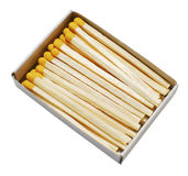 Matches in box. Isolated yellow matches in the yellow box stock photography
