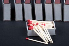 Matches in a box Stock Photos