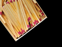 Matches in a box isolated on black Royalty Free Stock Image