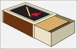 MATCHES IN THE BOX ON A  LIGHT BACKGROUND. Color image of a box with chopsticks of combustible material and an incendiary head for obtaining an open flame Stock Image