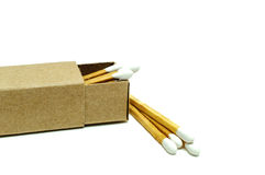 Matches And Box On White Background. White Head Color Matches And Matchbox On White Isolated Background Stock Photo