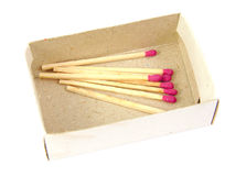 Matches in a box on white background Royalty Free Stock Images