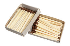 Matches in a box on a white background Royalty Free Stock Images