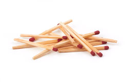 Matches. Bunch of matches isolated on a whine background Stock Photos