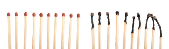 Matches and burnt matches Royalty Free Stock Images