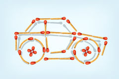 Matches business car. Illustration of symbol a car maked from matches on blue background Stock Images