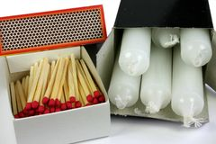 Matches and Candles stock image