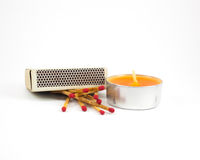 Matches and candles Stock Photography