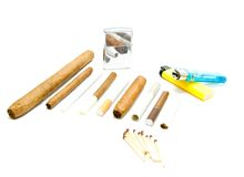 Matches, cigarettes and various lighters Stock Photography