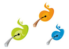 Matches and colorful flames. A set of three illustrations with matches and flames Royalty Free Stock Image