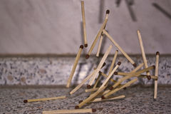 Matches. Falling matches, stop motion Royalty Free Stock Photo
