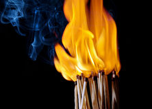 Matches with the fire and smoke Royalty Free Stock Photos