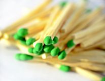 Matches with green heads Stock Photo