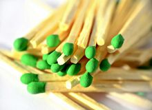 Matches with green heads Stock Photography