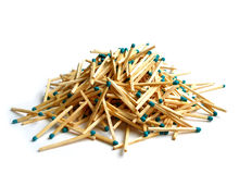 Matches heap over white Stock Images