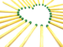 Matches in the heart composition. On the white background Royalty Free Stock Image
