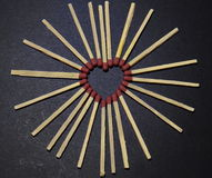 Matches heart. Will be on fire. Closeup Stock Photography