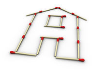 Matches home. 3d rendered image of a house made up of matches. Very highly detailed stock illustration