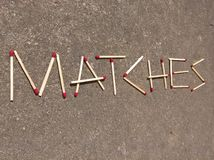 Matches Inscription Royalty Free Stock Photography